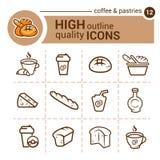 Kaffe- och bakelsesymboler stock illustrationer