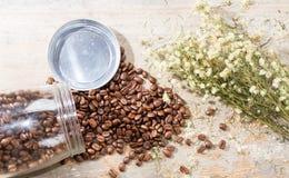 Kaffe och blomma Arkivbild