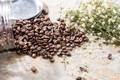 Kaffe och blomma Royaltyfria Foton