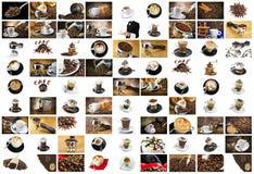 Kaffe- och cappuccinocollage Royaltyfria Foton