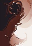 Kaffe och choklad. Färgstänk. Arkivfoton