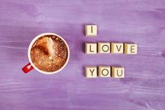 Kaffe- och chokladsötsaker ÄLSKAR JAG DIG Arkivbilder
