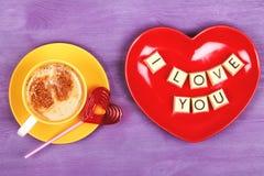 Kaffe- och chokladsötsaker ÄLSKAR JAG DIG Arkivbild