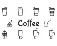 Kaffe- och coctailöversiktsbeståndsdelar och symbol vektor illustrationer