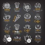 Kaffe och den söta menyrestaurangen förser med märke, efterrättmenyn Arkivfoto