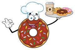 Kaffe och Donuts för portion för tecken för kockChocolate Donut Cartoon maskot royaltyfri illustrationer