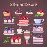 Kaffe och efterrätter royaltyfri illustrationer