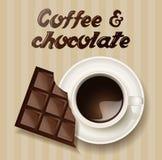 Kaffe och en choklad stock illustrationer