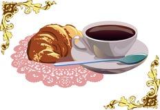 Kaffe och giffel Arkivbilder