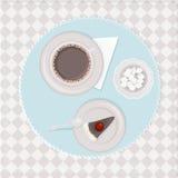 kaffe och kaka royaltyfri illustrationer
