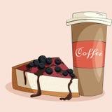 Kaffe- och kakaillustration Fotografering för Bildbyråer