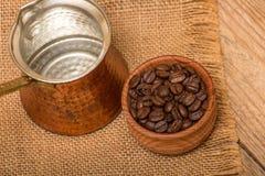 Kaffe och kokkärl Fotografering för Bildbyråer