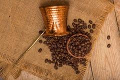 Kaffe och kokkärl Arkivfoton