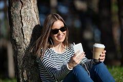 Kaffe och musik Arkivbild