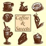 Kaffe och sötsaker royaltyfri bild