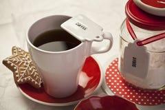 Kaffe och socker Arkivfoto