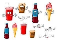 Kaffe- och sodavattenkoppar, drink, glass Arkivbild
