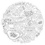 Kaffe och te klottrar bakgrund i vektor med paisley stock illustrationer