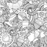 Kaffe och te klottrar bakgrund i vektor med paisley vektor illustrationer