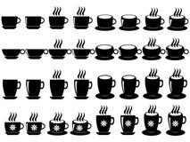Kaffe och tea kuper Arkivbild
