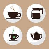 Kaffe- och tekoppsymboler sänker uppsättning 3 Arkivbilder