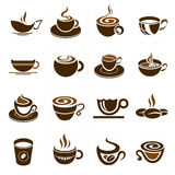 Kaffe- och tekoppuppsättning, symbolssamling. vektor illustrationer