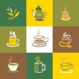 Kaffe- och tesymbolsuppsättning och tecken Arkivfoto
