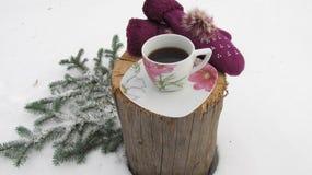 Kaffe och tumvanten i insnöad vinter Royaltyfri Bild