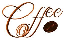 Kaffe - ord med kaffebönan royaltyfri illustrationer