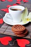 Kaffe på dag för valentin s Royaltyfri Bild