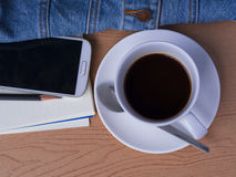 Kaffe på ferie med min jeans Fotografering för Bildbyråer