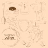 Kaffe - räcka utdraget royaltyfri illustrationer