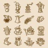 Kaffe skissar symbolsuppsättningen royaltyfri illustrationer