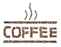 Kaffe som är skriftligt med kaffebönor som isoleras på vit Royaltyfria Bilder