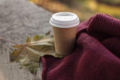 Kaffe som går att kupa, och halsduk i höst royaltyfria bilder