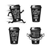 Kaffe som går emblemuppsättning Bort kaffeetiketter för tagande Vektortappningillustration stock illustrationer