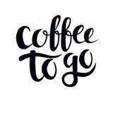 Kaffe som går hand dragen typografiaffisch royaltyfri illustrationer
