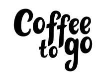 Kaffe som går handen, skissade bokstäveraffischen, borstekalligrafi För logotyp emblem, symbol, kort, vykort, logo, baner, etiket royaltyfria bilder