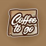 Kaffe som går, i att märka stil på påseillustration Emblem eller logo Duva som symbol av f?r?lskelse, pease royaltyfri illustrationer