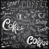 Kaffe som går, kuper, rånar, bönor och bokstävertyper vektor illustrationer