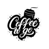 Kaffe som går skriftlig bokstäveraffisch för hand med den pappers- koppen vektor illustrationer