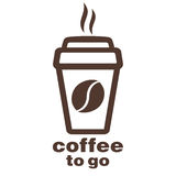Kaffe som går, klistermärke i fönstret, vektorlogo, rengöringsduksymbol, knapp, etikett, tecken, stencil, pictograph Plant linjär Fotografering för Bildbyråer