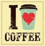 kaffe som jag älskar För tappningstil för kaffe typografisk affisch för grunge retro vektor för illustration stock illustrationer