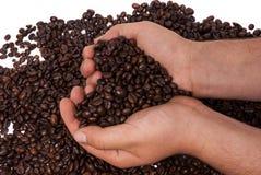 Kaffe som rymms i händer Royaltyfria Foton