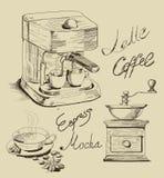 kaffe tecknad hand royaltyfri illustrationer