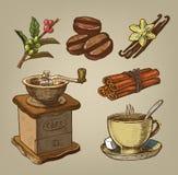 kaffe tecknad hand Arkivfoto