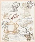 kaffe tecknad hand stock illustrationer
