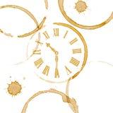 Kaffe Tid Ring Stains och klockaframsida Royaltyfri Fotografi