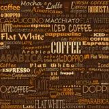 Kaffe uttrycker sömlösa bakgrundsetiketter stock illustrationer