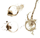 kaffe vita isolerade set fläckar Royaltyfria Foton